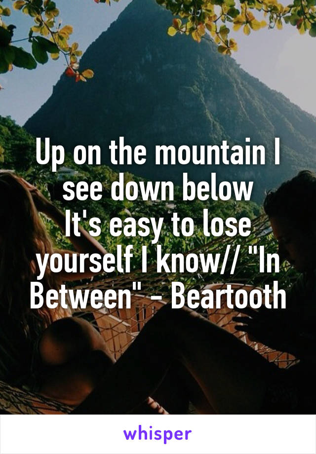"""Up on the mountain I see down below It's easy to lose yourself I know// """"In Between"""" - Beartooth"""