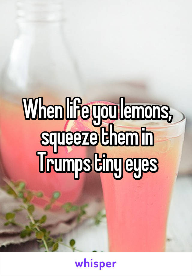 When life you lemons, squeeze them in Trumps tiny eyes