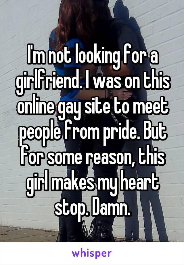 I'm not looking for a girlfriend. I was on this online gay site to meet people from pride. But for some reason, this girl makes my heart stop. Damn.