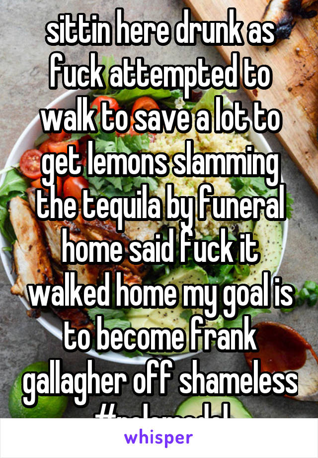 sittin here drunk as fuck attempted to walk to save a lot to get lemons slamming the tequila by funeral home said fuck it walked home my goal is to become frank gallagher off shameless #rolemodel