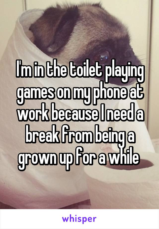 I'm in the toilet playing games on my phone at work because I need a break from being a grown up for a while
