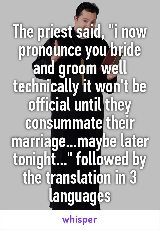 "The priest said, ""i now pronounce you bride and groom well technically it won't be official until they consummate their marriage...maybe later tonight..."" followed by the translation in 3 languages"