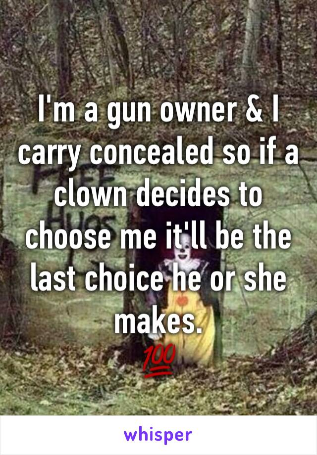 I'm a gun owner & I carry concealed so if a clown decides to choose me it'll be the last choice he or she makes. 💯