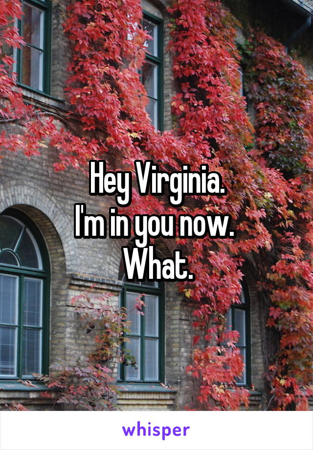 Hey Virginia. I'm in you now.  What.