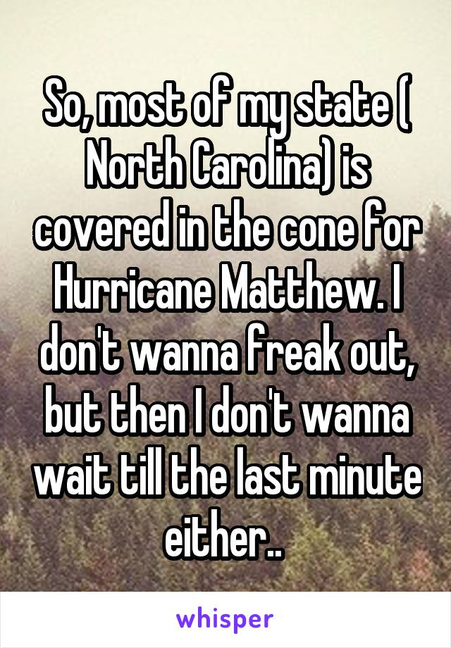 So, most of my state ( North Carolina) is covered in the cone for Hurricane Matthew. I don't wanna freak out, but then I don't wanna wait till the last minute either..