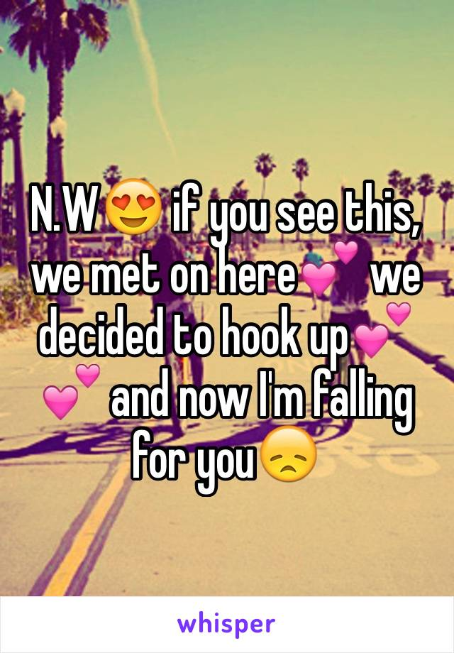 N.W😍 if you see this, we met on here💕 we decided to hook up💕💕 and now I'm falling for you😞