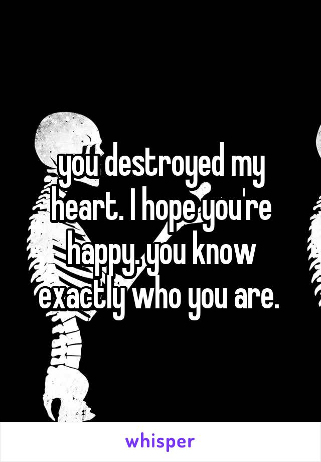 you destroyed my heart. I hope you're happy. you know exactly who you are.
