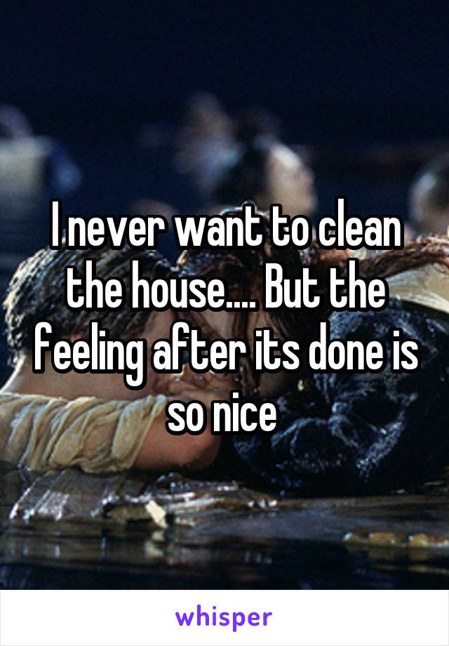 I never want to clean the house.... But the feeling after its done is so nice