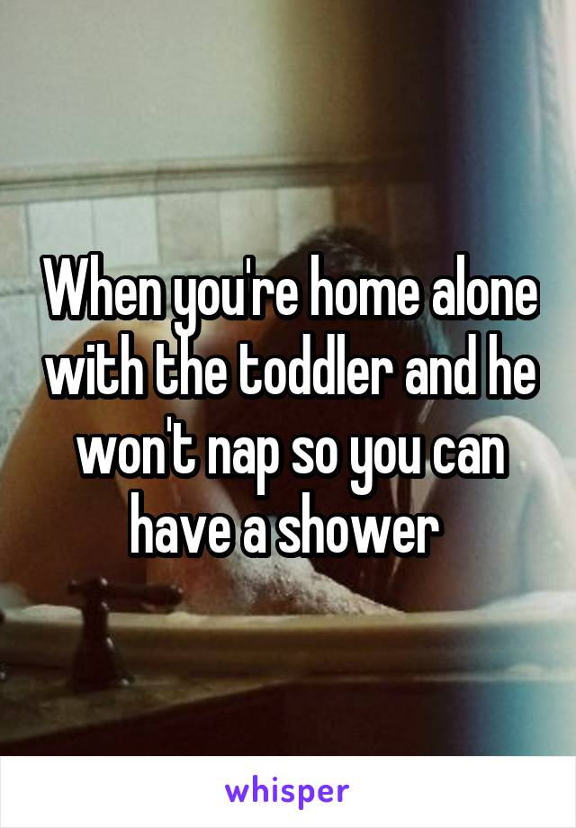 When you're home alone with the toddler and he won't nap so you can have a shower