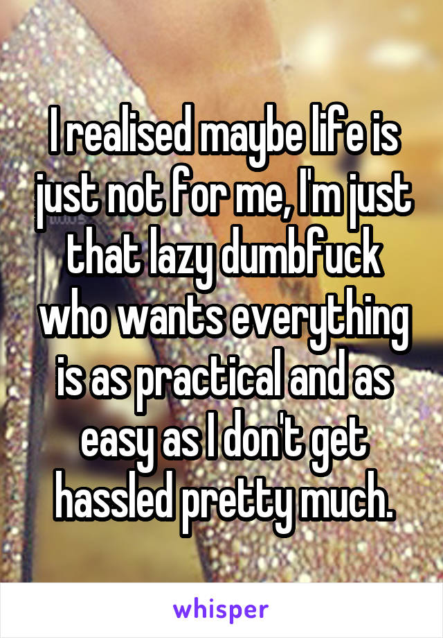 I realised maybe life is just not for me, I'm just that lazy dumbfuck who wants everything is as practical and as easy as I don't get hassled pretty much.