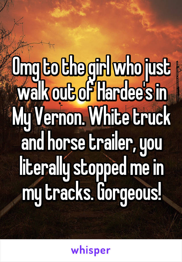 Omg to the girl who just walk out of Hardee's in My Vernon. White truck and horse trailer, you literally stopped me in my tracks. Gorgeous!