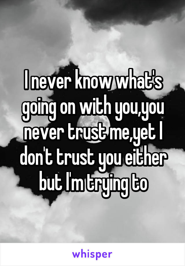 I never know what's going on with you,you never trust me,yet I don't trust you either but I'm trying to