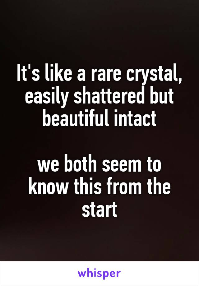 It's like a rare crystal, easily shattered but beautiful intact  we both seem to know this from the start