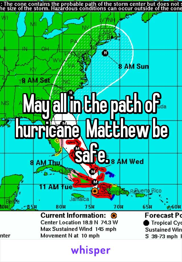 May all in the path of hurricane  Matthew be safe.