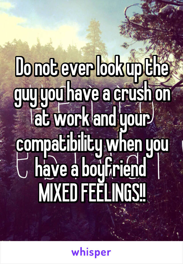 Do not ever look up the guy you have a crush on at work and your compatibility when you have a boyfriend  MIXED FEELINGS!!