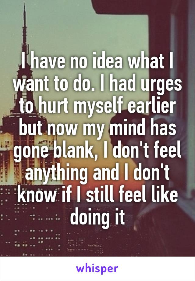 I have no idea what I want to do. I had urges to hurt myself earlier but now my mind has gone blank, I don't feel anything and I don't know if I still feel like doing it