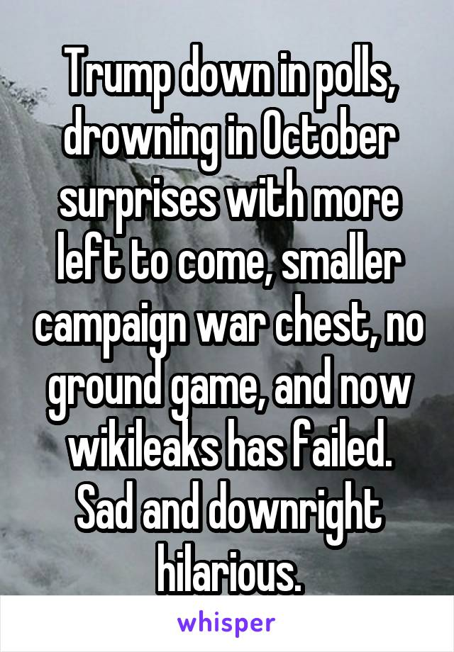 Trump down in polls, drowning in October surprises with more left to come, smaller campaign war chest, no ground game, and now wikileaks has failed. Sad and downright hilarious.