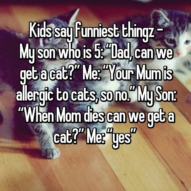 "Kids say funniest thingz - My son who is 5: ""Dad, can we get a cat?"" Me: ""Your Mum is allergic to cats, so no."" My Son: ""When Mom dies can we get a cat?"" Me: ""yes"" 😅"