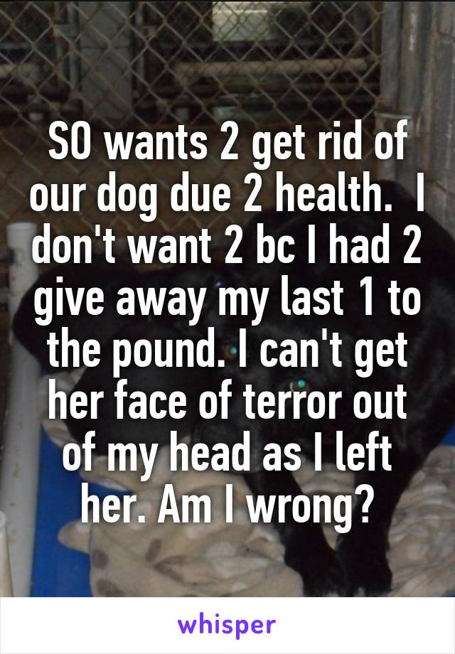 SO wants 2 get rid of our dog due 2 health.  I don't want 2 bc I had 2 give away my last 1 to the pound. I can't get her face of terror out of my head as I left her. Am I wrong?