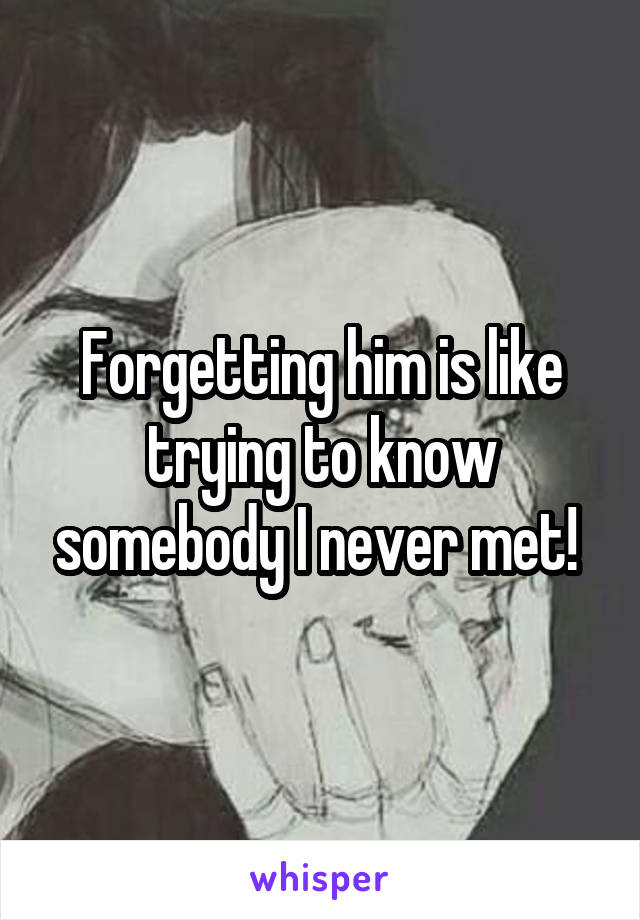Forgetting him is like trying to know somebody I never met!