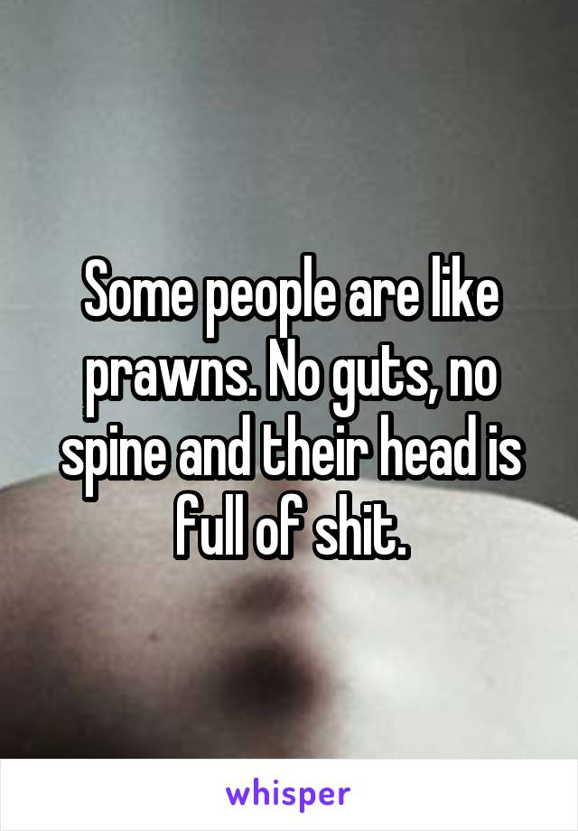 Some people are like prawns. No guts, no spine and their head is full of shit.