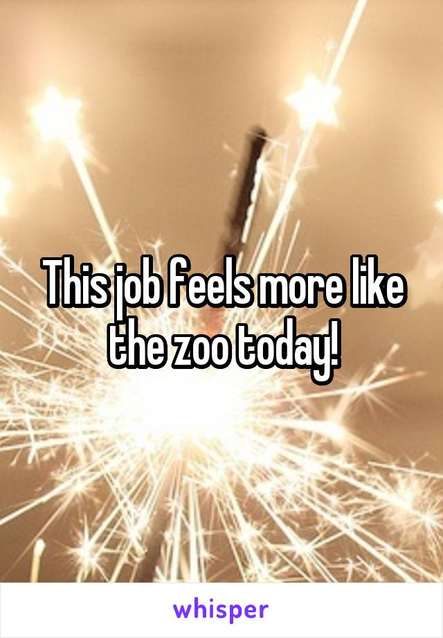This job feels more like the zoo today!