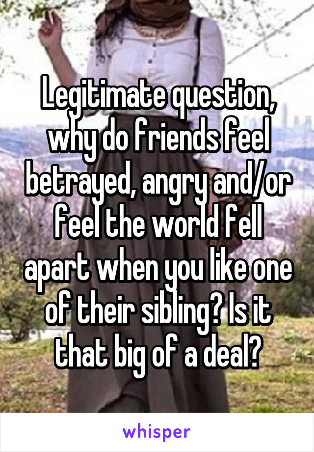 Legitimate question, why do friends feel betrayed, angry and/or feel the world fell apart when you like one of their sibling? Is it that big of a deal?