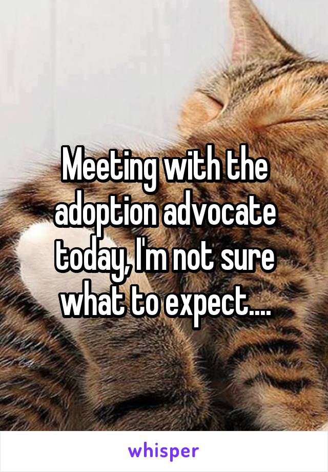 Meeting with the adoption advocate today, I'm not sure what to expect....
