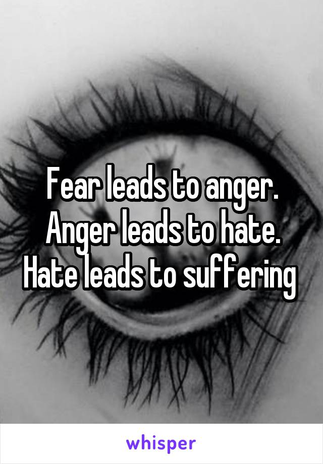Fear leads to anger. Anger leads to hate. Hate leads to suffering