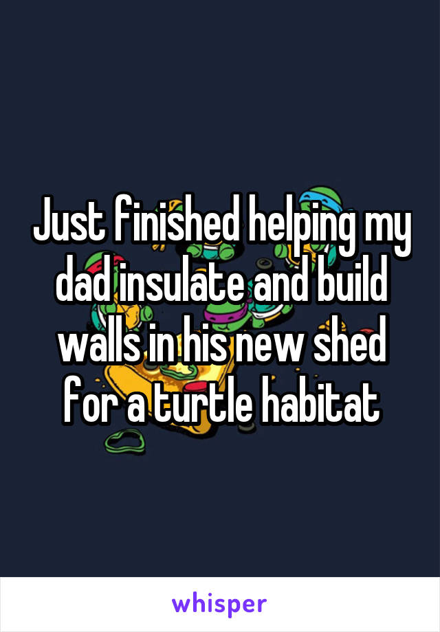 Just finished helping my dad insulate and build walls in his new shed for a turtle habitat