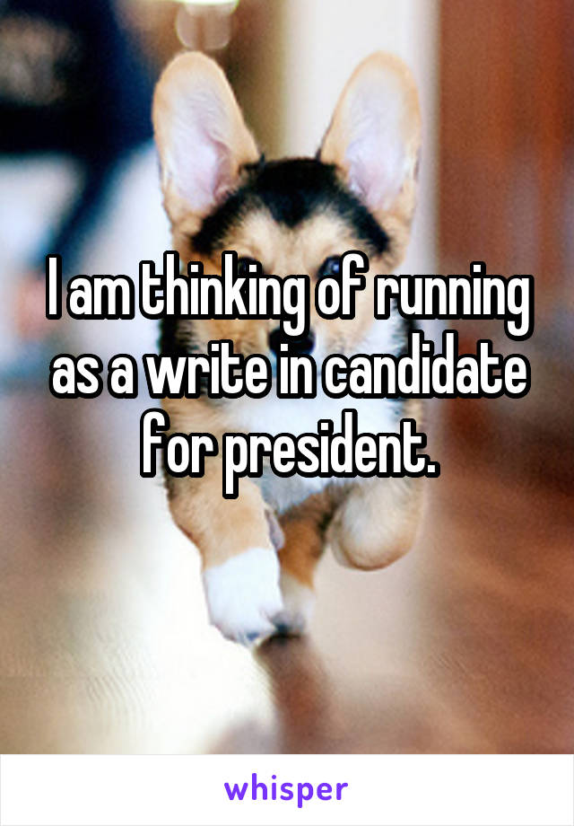 I am thinking of running as a write in candidate for president.