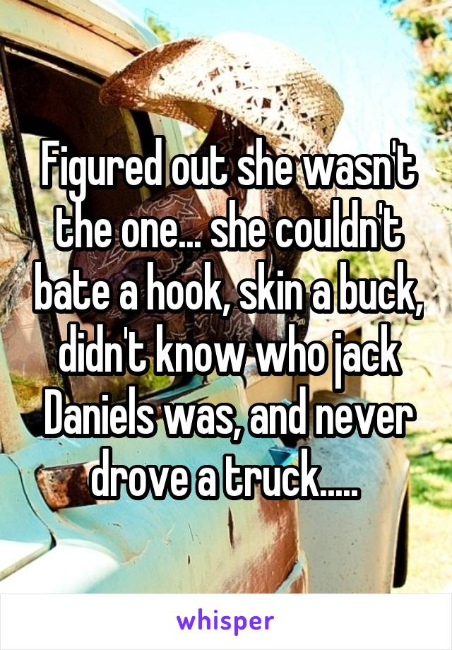 Figured out she wasn't the one... she couldn't bate a hook, skin a buck, didn't know who jack Daniels was, and never drove a truck.....