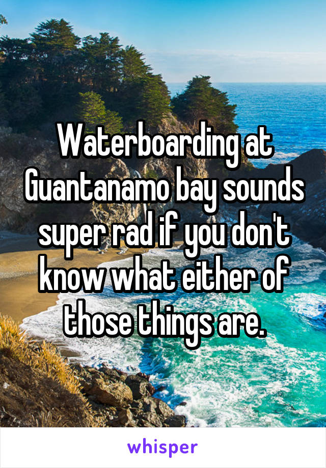 Waterboarding at Guantanamo bay sounds super rad if you don't know what either of those things are.