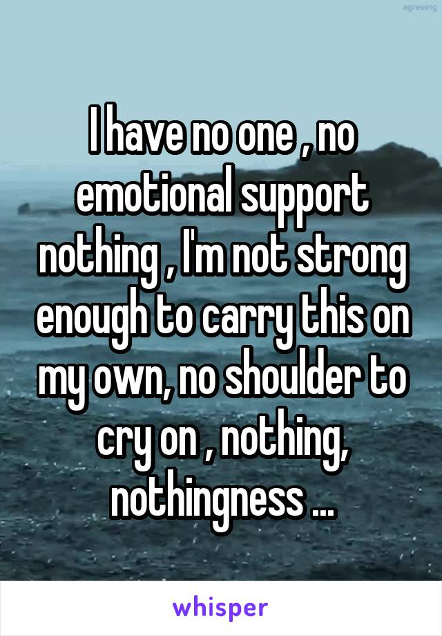 I have no one , no emotional support nothing , I'm not strong enough to carry this on my own, no shoulder to cry on , nothing, nothingness ...