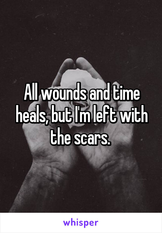 All wounds and time heals, but I'm left with the scars.