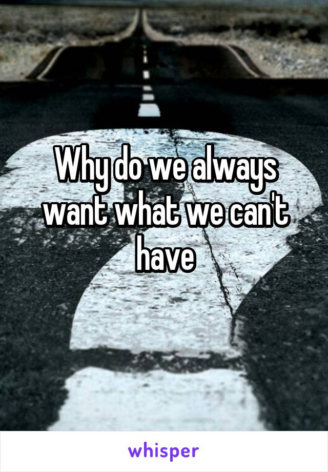 Why do we always want what we can't have