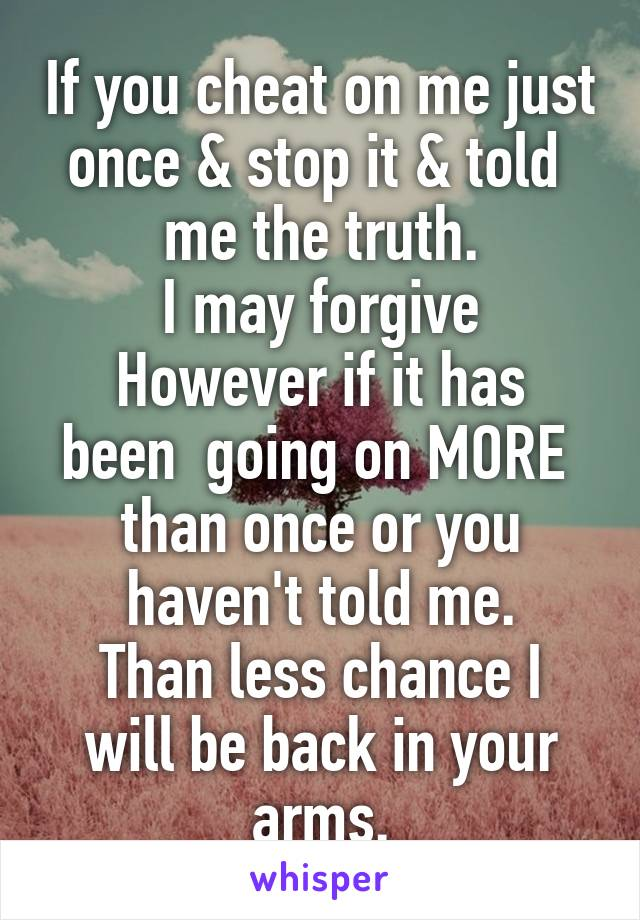 If you cheat on me just once & stop it & told  me the truth. I may forgive However if it has been  going on MORE  than once or you haven't told me. Than less chance I will be back in your arms.