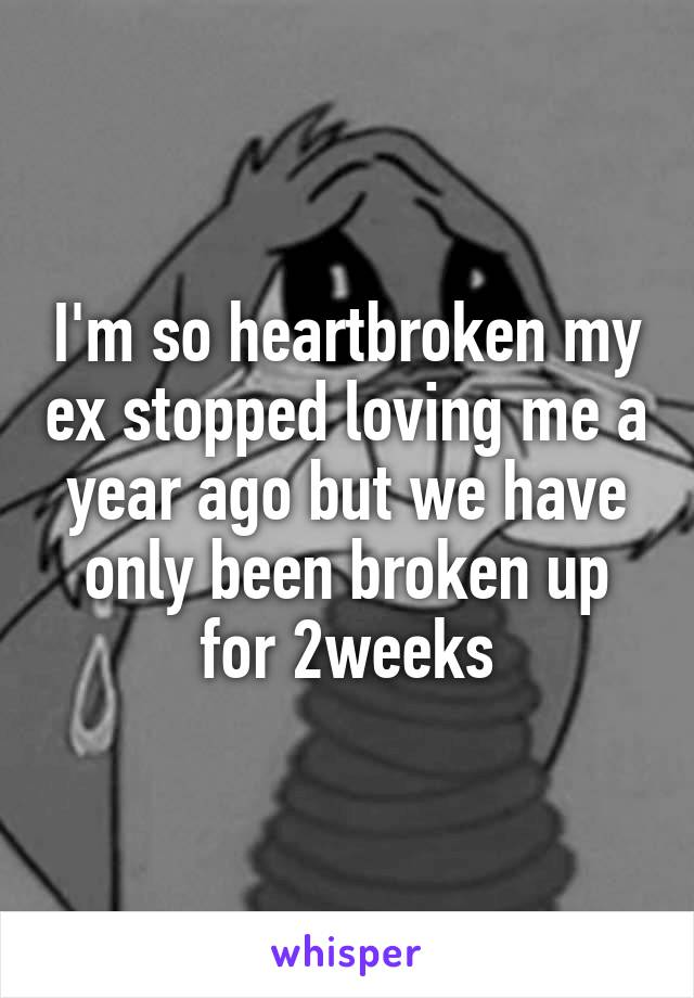 I'm so heartbroken my ex stopped loving me a year ago but we have only been broken up for 2weeks