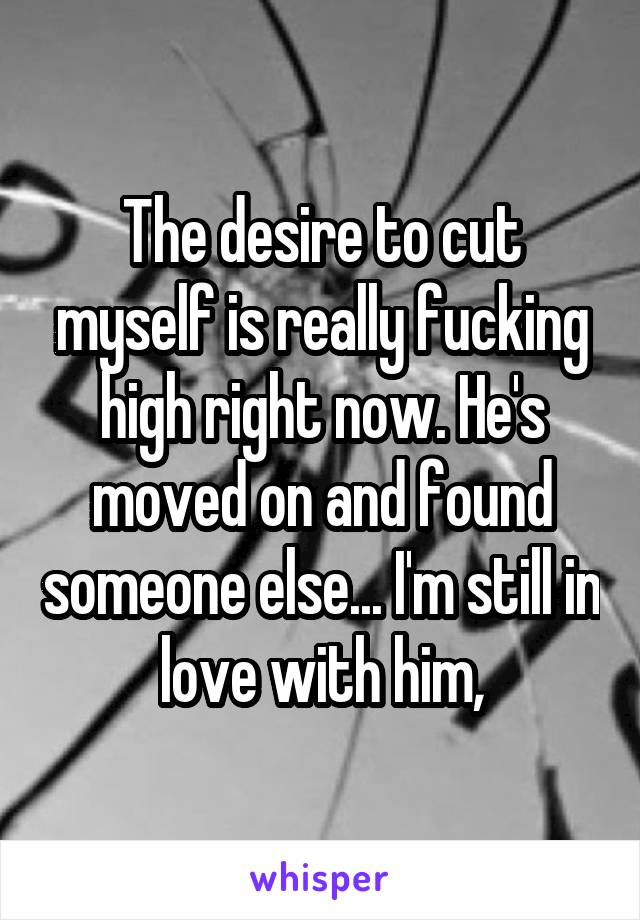 The desire to cut myself is really fucking high right now. He's moved on and found someone else... I'm still in love with him,