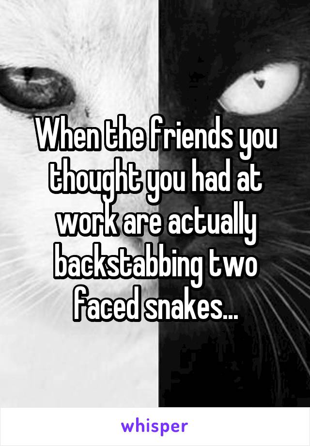 When the friends you thought you had at work are actually backstabbing two faced snakes...