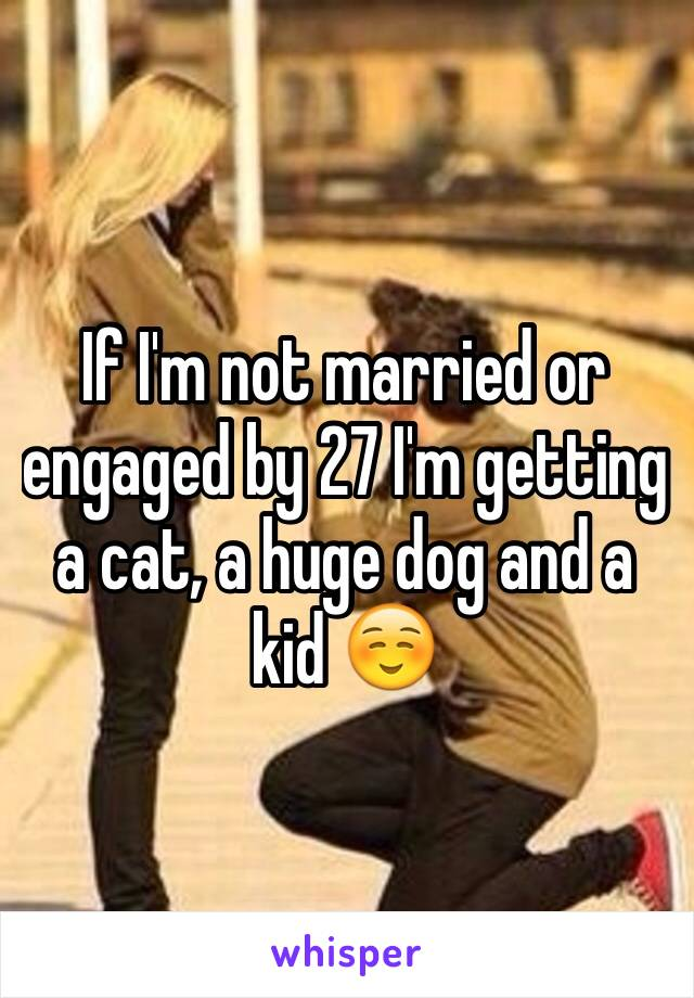 If I'm not married or engaged by 27 I'm getting a cat, a huge dog and a kid ☺️