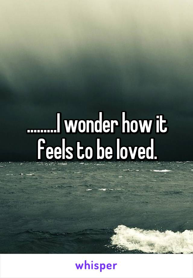 .........I wonder how it feels to be loved.