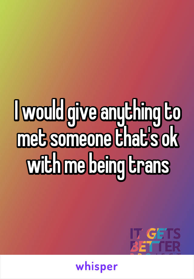 I would give anything to met someone that's ok with me being trans