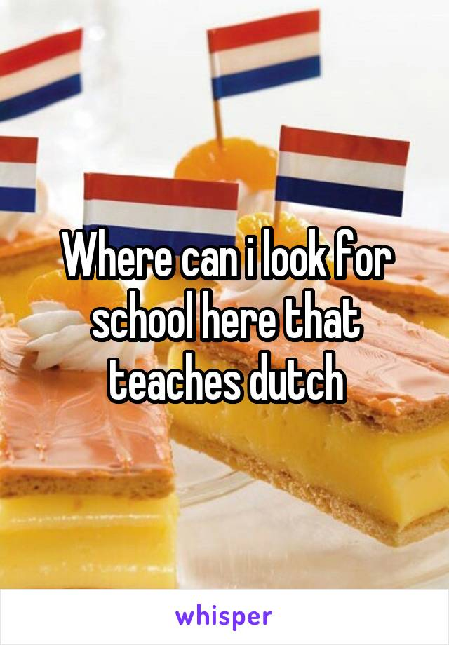 Where can i look for school here that teaches dutch