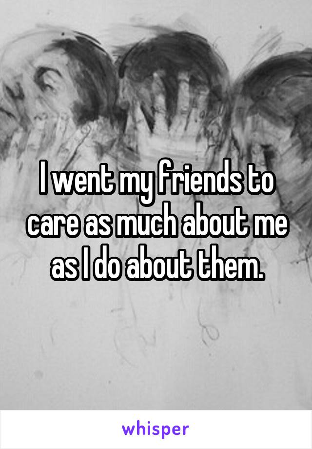 I went my friends to care as much about me as I do about them.