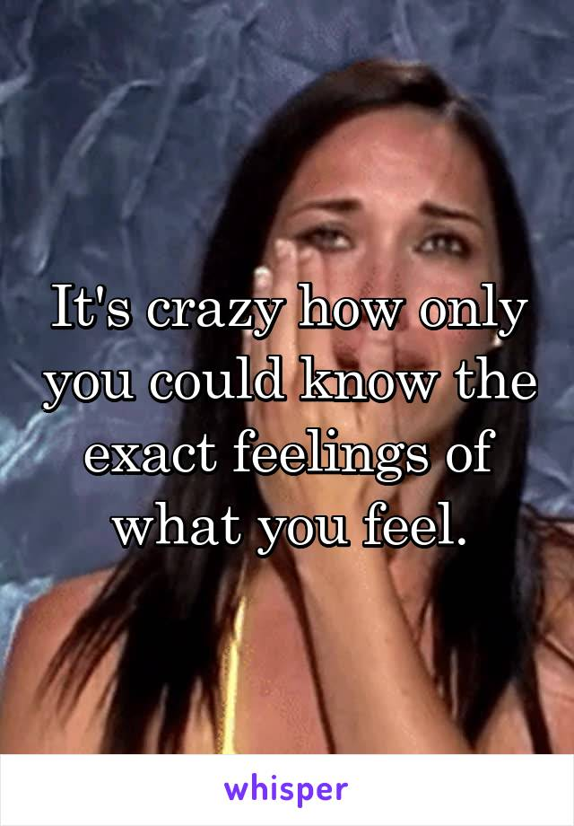 It's crazy how only you could know the exact feelings of what you feel.