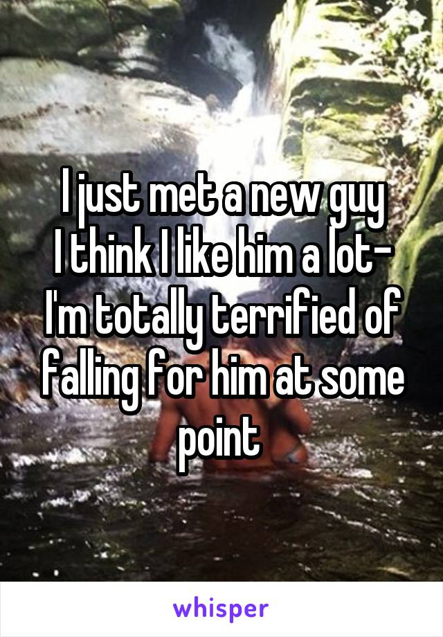 I just met a new guy I think I like him a lot- I'm totally terrified of falling for him at some point