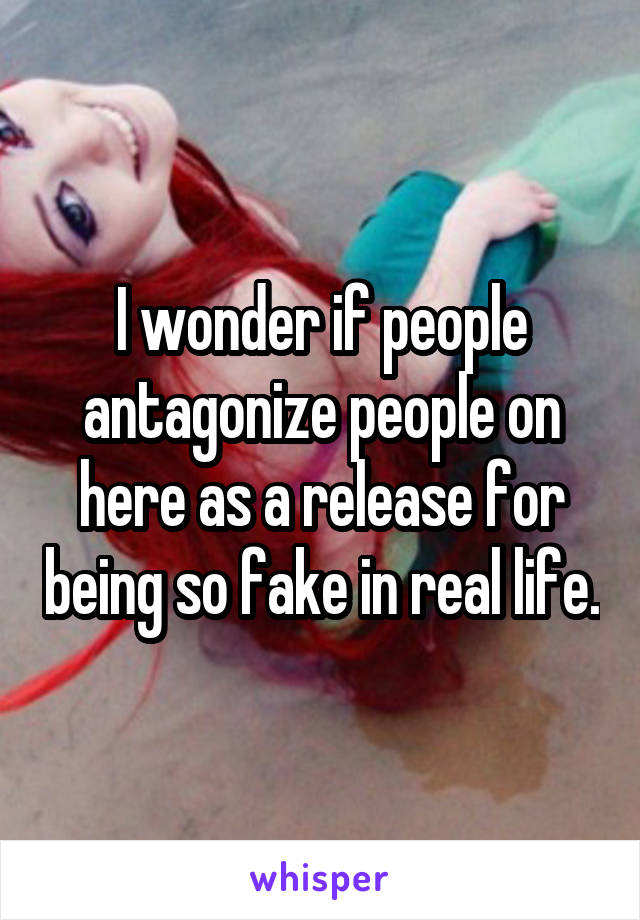 I wonder if people antagonize people on here as a release for being so fake in real life.