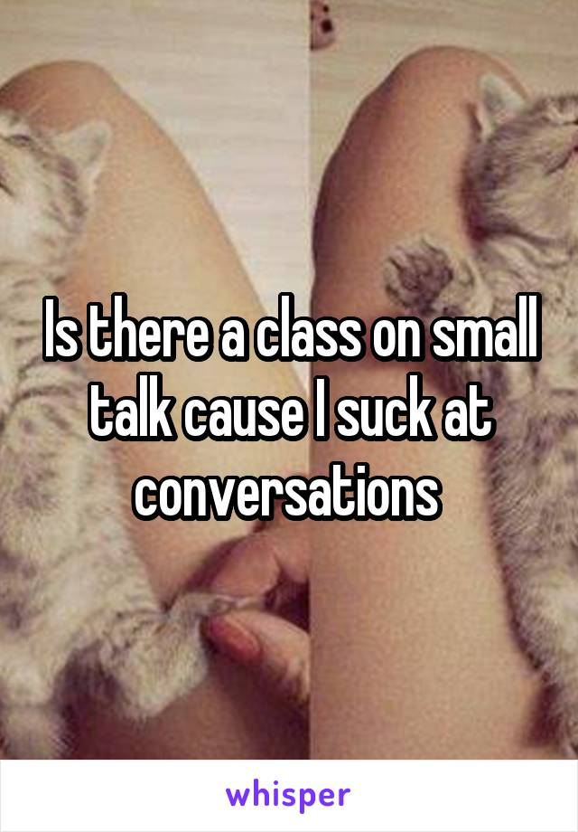 Is there a class on small talk cause I suck at conversations