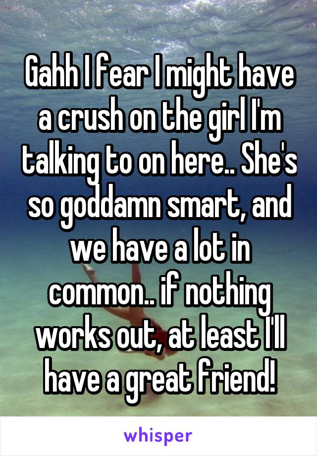 Gahh I fear I might have a crush on the girl I'm talking to on here.. She's so goddamn smart, and we have a lot in common.. if nothing works out, at least I'll have a great friend!